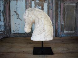 aNTIQUE MARBLE HORSE HEAD ON IRON STAND <b>sold<b>